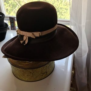 Vintage Mr. John classic brown tall hat with bow